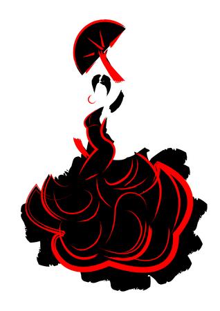 Taniec flamenco, sylwetka Hiszpański kobieta, wektor izolowane Ilustracje wektorowe