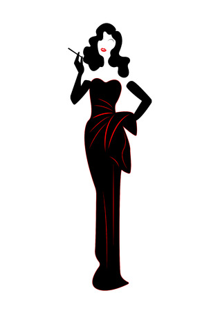 Diva Hollywood silhouette, Beautiful retro fashion woman , styling and evening dress 1940s , vector.