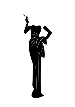 Silhouette, Beautiful retro fashion woman , styling and evening dress 1940s , vector.
