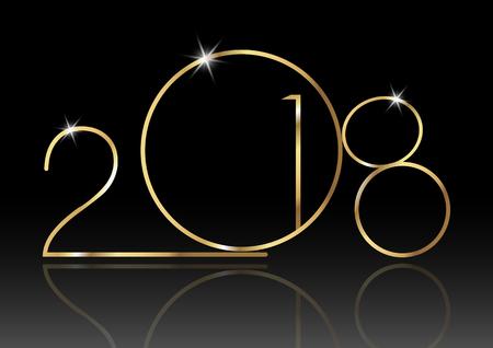 2018 해피 뉴 이어 골드와 반짝이 질감, 현대 배경, 벡터 절연 또는 검정색 배경, 일정 및 인사말 카드 또는 크리스마스 테마 초대장에 대 한 요소 일러스트