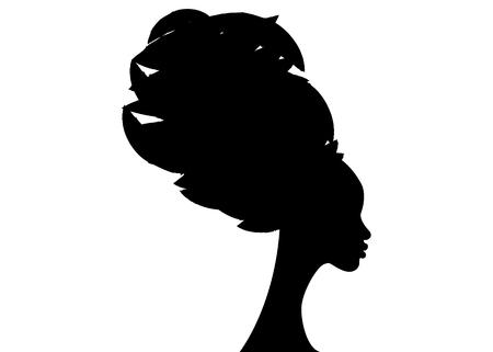 portret pięknej afrykańskiej kobiety w tradycyjnym turbanie, owinięcie głowy Kente Afryki, tradycyjne drukowanie dashiki, czarne kobiety wektor sylwetka na białym tle, koncepcja fryzury Ilustracje wektorowe