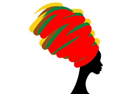Retrato hermosa mujer africana en turbante tradicional, abrigo de cabeza Kente africano, impresión dashiki tradicional, silueta de mujer negro vector aislado, concepto de peinado Ilustración de vector