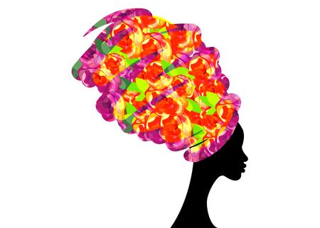 Retrato hermosa mujer africana en turbante tradicional, abrigo de cabeza Kente africano, impresión dashiki tradicional, silueta de mujer negro vector aislado, concepto de peinado