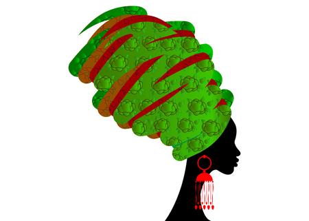portret pięknej afrykańskiej kobiety w tradycyjnym turbanie, owinięcie głowy Kente Afryki, tradycyjne drukowanie dashiki, czarne kobiety wektor sylwetka na białym tle, koncepcja fryzury