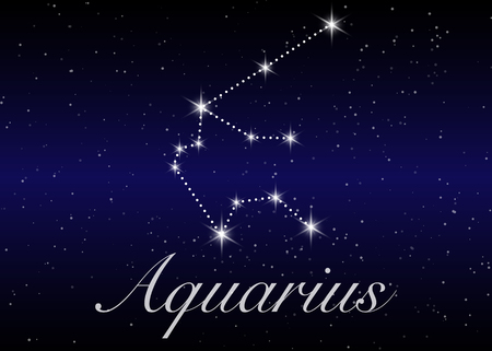 Aquarius zodiac constellations sign on beautiful starry sky with galaxy and space behind. Aquarium horoscope symbol constellation on deep cosmos background.