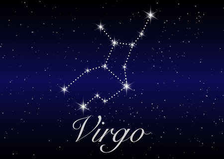 Virgo zodiac constellations sign on beautiful starry sky with galaxy and space behind. Virgin horoscope symbol constellation on deep cosmos background.