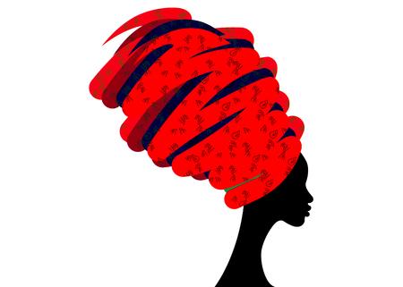 Ritratto bella donna africana in turbante tradizionale, avvolgimento capo Kente africana, stampa tradizionale dashiki, donne nere vettoriale silhouette isolato con gioielli tradizionali, sfondo etnico Archivio Fotografico - 91693797