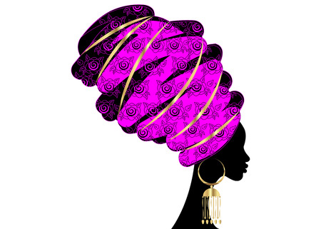portrait beautiful African woman in traditional turban, Kente head wrap African, Traditional dashiki printing, black women vector silhouette isolated with traditional jewelry, ethnic background Illustration