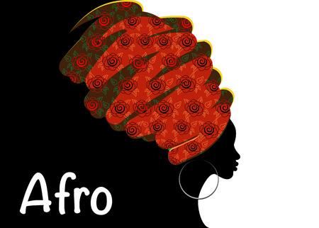 Retrato hermosa mujer africana en turbante tradicional, envoltura de cabeza de Kente, impresión dashiki tradicional, silueta de vector de mujer negra aislada con joyería tradicional, origen étnico