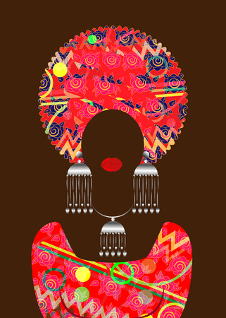 portrait beautiful African woman in traditional turban, Kante head wrap African, Traditional dashiki printing, black women silhouette with traditional jewelry, ethnic dress 일러스트
