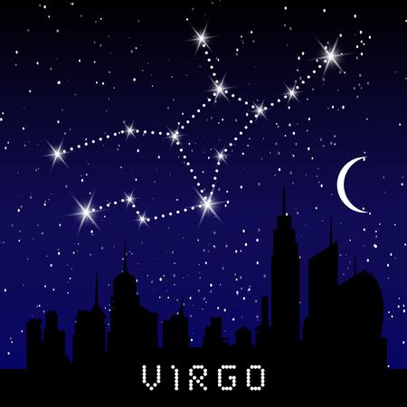 Virgo constellations sign on beautiful starry sky.