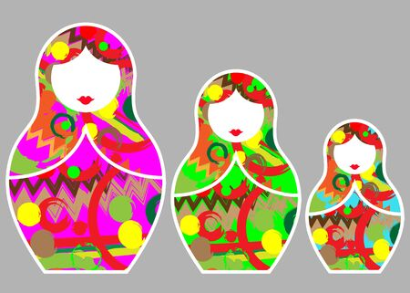 Matryoshka set stickers icon Russian nesting doll with ornament. Isolated on gray background.