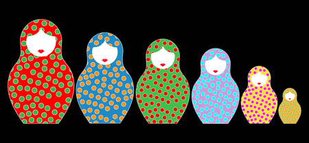 Matryoshka set stickers icon Russian nesting doll with ornament. Isolated on black background. Çizim