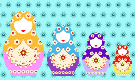 Matryoshka set icon Russian nesting doll with ornament. Vector illustration, decorated background.
