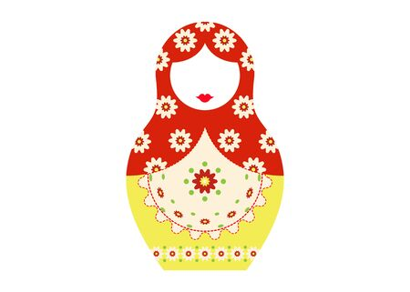 Matryoshka icon Russian nesting doll with colorful ornament. Vector isolated illustration.