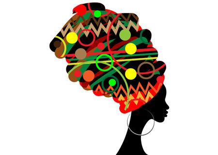 Retrato de hermosa mujer africana en turbante tradicional, envoltura de cabeza de kente, impresión dashiki tradicional, silueta de mujer negra aislada con aretes tradicionales, concepto de peinado