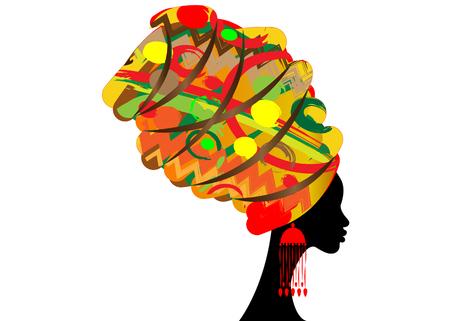 Retrato, bonito, mulher africana, em, tradicional, turbante, kente, envoltório cabeça africano, tradicional, dashiki, impressão, mulheres pretas, silueta, isolado, com, tradicional, brincos, penteado, conceito