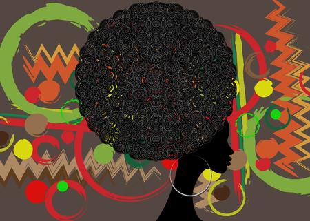 아프리카 여성, 어두운 피부, 헤어 스타일 개념 흰색 배경에 고립의 초상화