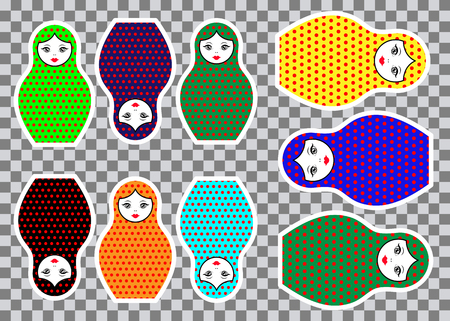 Matryoshka set stickers icon Russian nesting doll with colorful ornament, vector illustration isolated, decorated polka dots Illustration