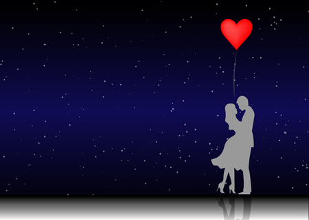 Romantic silhouette of loving couple. Valentines Day 14 February. Happy Lovers. Vector illustration isolated or starry universe background Vectores