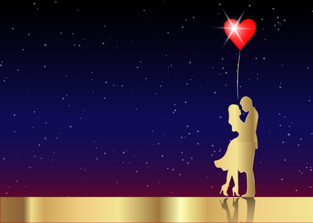 Romantic gold silhouette of loving couple in starry universe background. Illustration