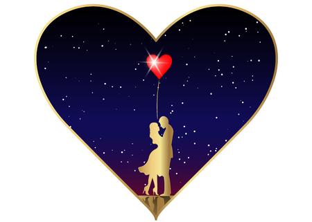 星空の宇宙の背景に愛するカップルのロマンチックなゴールドシルエット。バレンタインデー 2月14日  イラスト・ベクター素材
