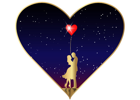 Romantic gold silhouette of loving couple in starry universe background. Valentines Day 14 February. Happy Lovers. Vector illustration isolated.