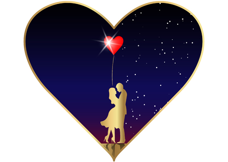 Romantic gold silhouette of loving couple in starry universe background. Valentines day, 14th of February, happy lovers vector illustration.