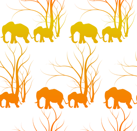 Batik tiger pattern with cute animal, Elephants. The elephants baby with mother. Illustration