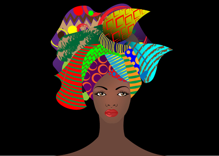 portrait of the young African woman in a colorful turban. Wrap Afro fashion, Ankara, Kente, kitenge, African women dresses with ethnic jewelry. Nigerian style, Ghanaian fashion. Vector isolated or black for Print, poster, t-shirt, card
