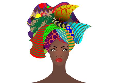 portret młodej afrykańskiej kobiety w kolorowym turbanie. Wrap Afro fashion, Ankara, Kente, kitenge, afrykańskie sukienki damskie z etniczną biżuterią. Styl nigeryjski, moda ghańska. Wektor na białym tle do druku, plakatu, t-shirt, karty