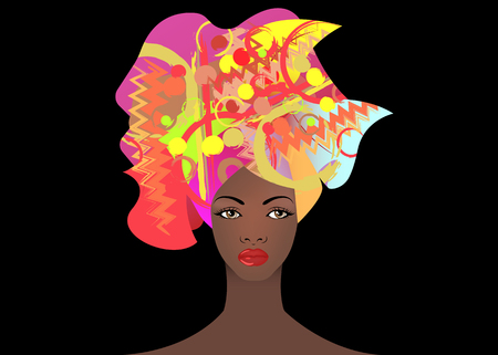 portrait of the young African woman in a colorful turban. Wrap Afro fashion, Ankara, Kente, kitenge, African women dresses with ethnic jewelry. Nigerian style, Ghanaian fashion. Vector isolated or black background for Print, poster, t-shirt, card Ilustrace