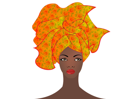 portrait of the young African woman in a colorful turban. Wrap Afro fashion, Ankara, Kente, kitenge, African women dresses. Nigerian style, Ghanaian fashion. Vector with leopard texture background Illustration
