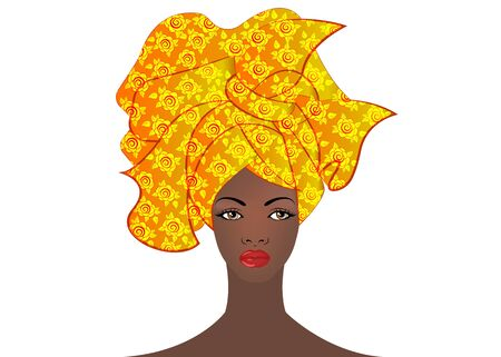 Portrait of the young African woman in a colorful turban. Wrap Afro fashion, Ankara, Kente, kitenge, African women dresses with ethnic jewelry. Nigerian style, Ghanaian fashion. Illustration