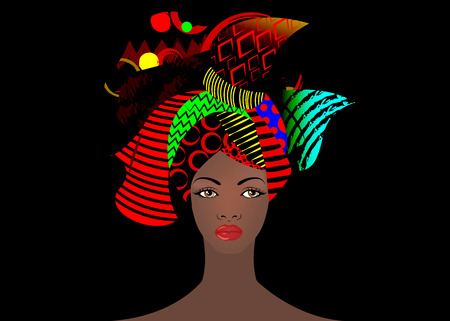 Portrait of the young African woman in a colorful turban. Wrap Afro fashion, Ankara, Kente, kitenge, Afro women dresses. Nigerian style, Ghanaian. African bone earring and ethnic necklace.