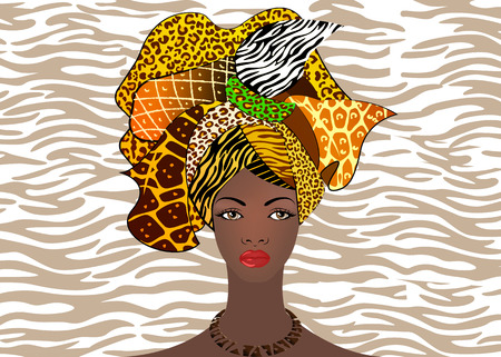 portrait of the young African woman in a colorful turban. Wrap Afro fashion, Ankara, Kente, kitenge, African women dresses. Nigerian style, Ghanaian fashion. Vector with zebra or tiger texture background