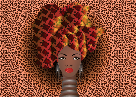 portrait of the young African woman in a colorful turban. Wrap Afro fashion, Ankara, Kente, kitenge, African women dresses. Nigerian style, Ghanaian fashion. Vector with leopard texture background Ilustrace