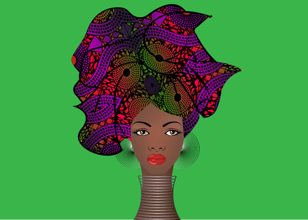 portrait of the young African woman in a colorful turban. Wrap Afro fashion, Ankara, Kente, kitenge, African women dresses. Nigerian style, Ghanaian fashion. Vector isolated or green background