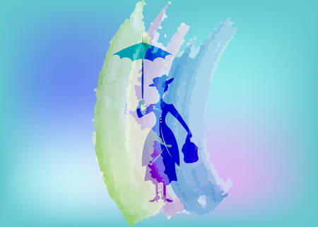Silhouette girl with umbrella, watercolour style, vector isolated or blue background