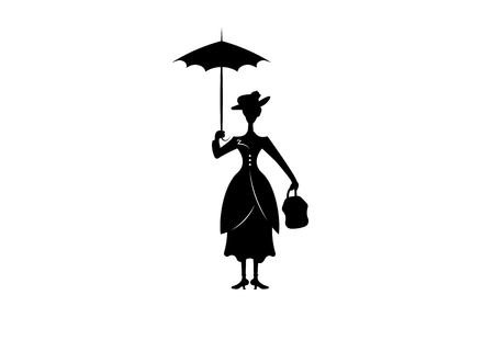 Silhouette girl with umbrella, isolated on white background
