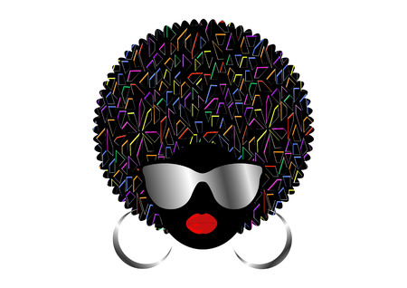 portrait African women, dark skinned female face with afro hair and metal sunglasses in traditional ethnic turban isolated vector, cover for black music, disco, beauty events, hairstyle concept