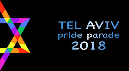 Pride Parate, Tel Aviv 2018 in rainbow  colors. Vector isolated or black background