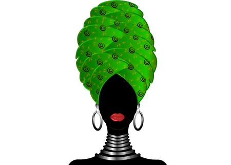 ターバンの若い黒人女性の肖像画。アニメーションアフリカの美しさ。白い背景に分離されたベクターカラーのイラスト。伝統的なケンテヘッドラップアフリカ。プリント、ポスター、Tシャツ、カード。グリーンパターンヘッドスカーフ