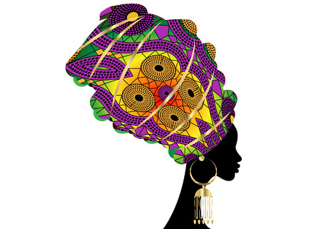 portrait beautiful African woman in traditional turban, Kente head wrap African, Traditional dashiki printing, black women vector silhouette isolated with traditional gold earrings, hairstyle concept Ilustração