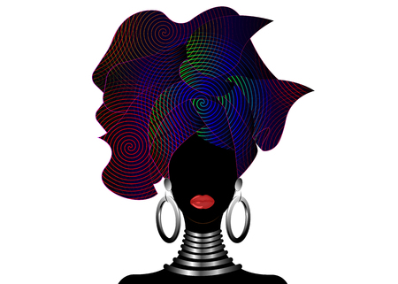Portrait of the young black woman in a turban. Animation African beauty. Vector color illustration isolated on a white background. Traditional Kente head wrap African. Print, poster, t-shirt, card. Colorful pattern headscarf