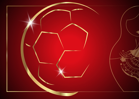 red background with golden ball and matryoshka. Red background with matryoshka icon and golden abstract Football trophy cup