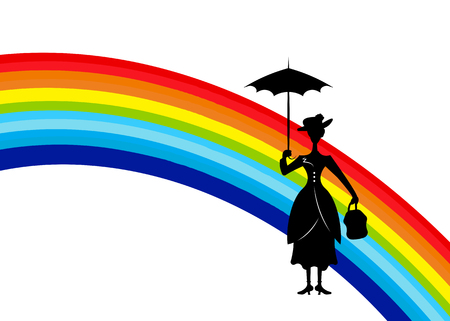 Silhouette of a girl in a rainbow, isolated on white background