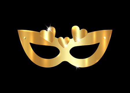 Golden Venetian realistic mask with gold hearts. Stylish Masquerade Party. Mardi Gras card invitation. Night Party Poster. Dance Flyer. Musical festival banner templates, vector isolated on black