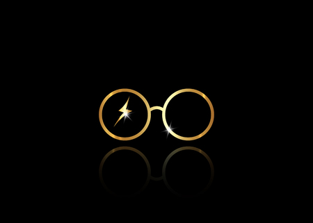 icon of a golden round glasses, minimal style, vector isolated on black background 写真素材 - 118230227