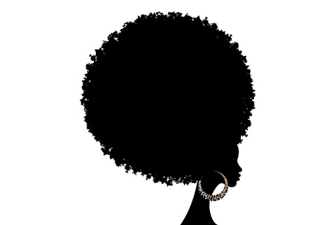 curly afro hair, African American portrait, dark skinned female face with curly hair afro, traditional ethnic earrings and sexy red lips, isolated on white background